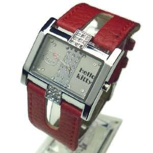 Hello Kitty Open Band Crystal Wrist Watch in Red Color