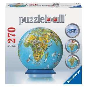 Illustrated World Map 270 Piece Puzzleball Toys & Games