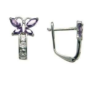 Birthstone Butterfly 14k White Gold Huggie Earrings Jewelry