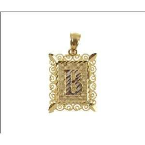 14k Yellow Gold, Initial Letter B Pendant Charm 16mm Wide Jewelry