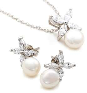 Platinum Plated Sterling Silver Freshwater Cultured Pearl Earrings and