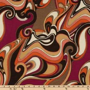 64 Wide Stretch Jersey Knit Abstract Brown/Orange/Cream
