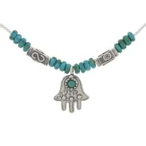 Silver Jewish Jewelry Necklace. Artistic Hamsa Pendant