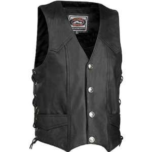 Nickel Mens Leather Harley Touring Motorcycle Vest   Black / 2X Large