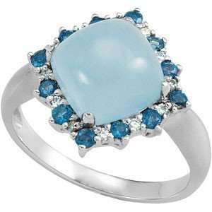 London Blue Topaz & Round Shaped Diamond Ring set in 14 kt White Gold