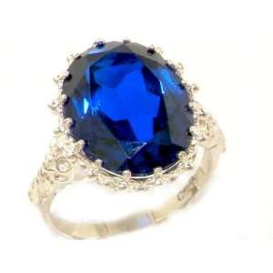 Luxury Solid Sterling Silver Large 16x12mm Oval 11ct Synthetic Blue