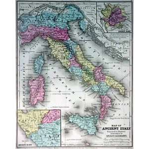 Mitchell 1844 Antique Map of Ancient Italy Office