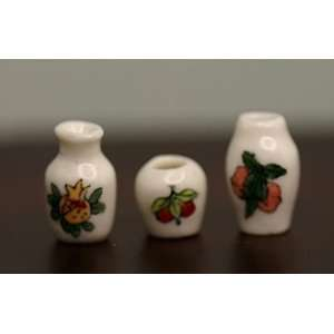 Set of 3 Vases with Fruit Design   Dollhouse Miniature: Toys & Games