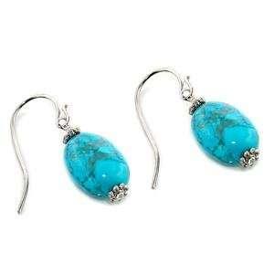 Aqua Marine Semi Precious Sterling Silver Plated Earrings AM Jewelry