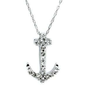 White Gold Genuine Diamond Marine Shape Pendant with a Chain Jewelry