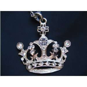 SWAROVSKI CRYSTAL RHINESTONE CROWN NECKLACE PENDANT