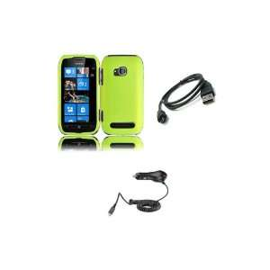 Nokia Lumia 710 (T Mobile) Premium Combo Pack   Neon Green Hard Shield