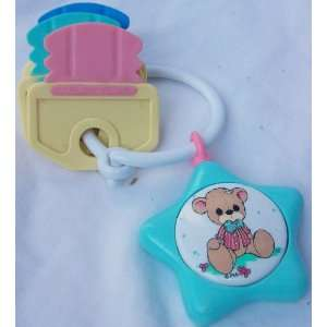 Vintage Pastel Teddy Bear Baby Rattle Keys Toy Toys