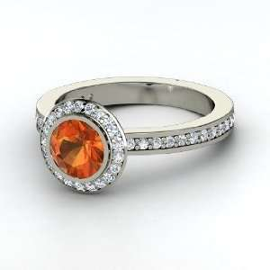 Roxanne Ring, Round Fire Opal 14K White Gold Ring with