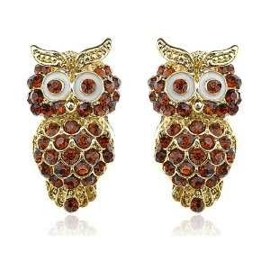 Ruby Topaz Crystal Rhinestone Big Eyed Owl Stud Earrings Jewelry