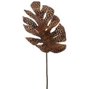 30 Snake Skin Print Split Philodendron Leaf Spray Two Tone