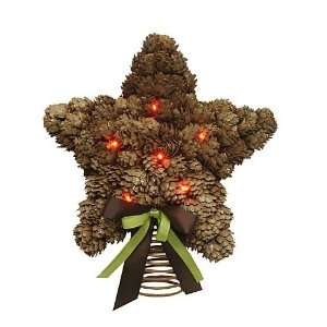 of 2 LED Lighted Pine Cone Star Christmas Tree Toppers