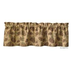 Pine Cone Embroidered Rustic Cabin Window Valance