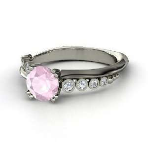 Isabella Ring, Round Rose Quartz 14K White Gold Ring with