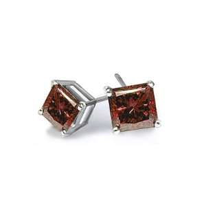0.15 Ct Princess Red Diamond White Gold Stud Earrings Jewelry