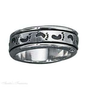 Sterling Silver Mens Footprint Spinner Ring Size 8: Jewelry