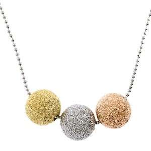 Rose Yellow White Gold Trio Ball Necklace Jewelry