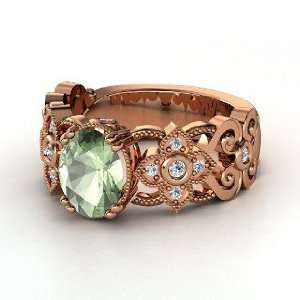 Ring, Oval Green Amethyst 14K Rose Gold Ring with Diamond Jewelry