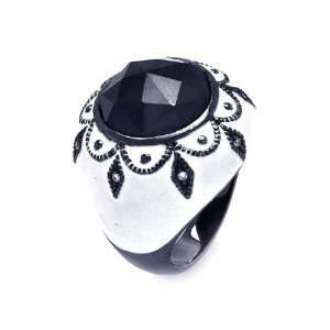 Sterling Silver Large Black CZ White Enamel Dome Ring Size 7 Jewelry