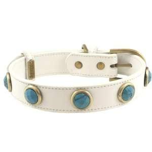 Turquoise White Leather Dog Collar   Extra Large