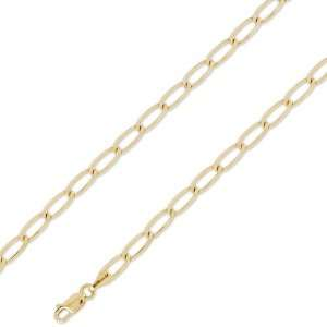 14K Solid Yellow Gold Open Link Chain Necklace 4.8mm (3/16