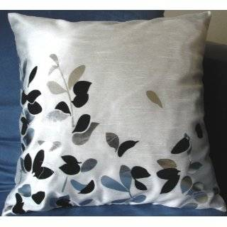 Decorative White Silver Floral Throw Pillow Cover
