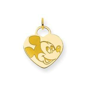 Gold Plated Sterling Silver Disney Mickey Heart Charm Jewelry