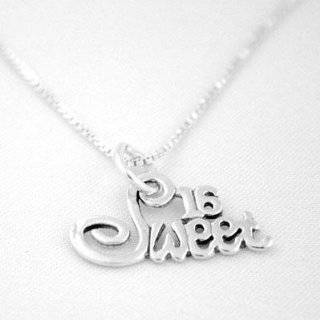 Sterling Silver SWEET 16 Heart Charm Pendant Jewelry