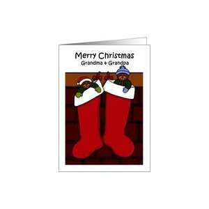 Merry Christmas grandparents bears in stockings Card