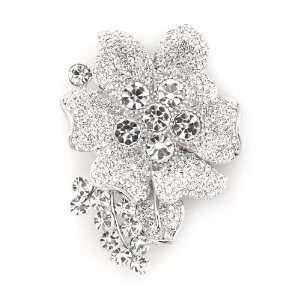 Silver Plated Elegant Swarovski Crystal Floral Brooch