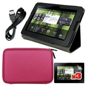 Date Cable + Black Leather Case for Blackberry Playbook Tablet By