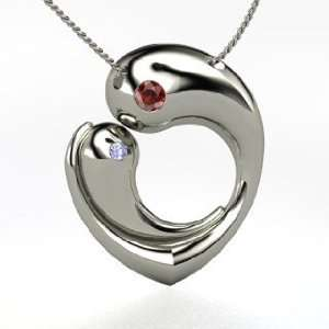 Embrace, Sterling Silver Necklace with Red Garnet & Tanzanite Jewelry