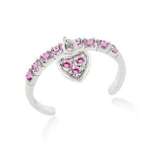 Sterling Silver Pink CZ Dangling Heart Toe Ring Jewelry