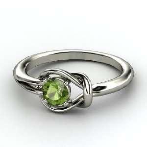 Knot Ring, Round Green Tourmaline 14K White Gold Ring Jewelry