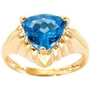 14K Yellow Gold Trillion Gemstone Ring Swiss Blue Topaz