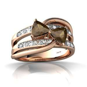 14k Rose Gold Trillion Genuine Smoky Quartz Ring Size 5.5 Jewelry