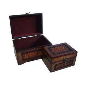 Set of 2, Wood Jewelry Box Chests Antique Finish Decor Home & Kitchen