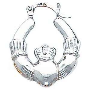 White gold Claddagh Hoop Earrings Jewelry New E Jewelry