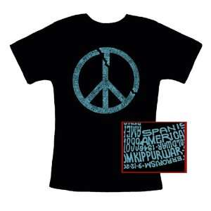 Broken Peace Symbol Text Womens T shirt Large   Art Is Created Using
