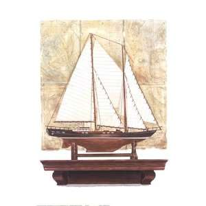 Yacht and Antique Map I by Richard Henson 16x20: Kitchen