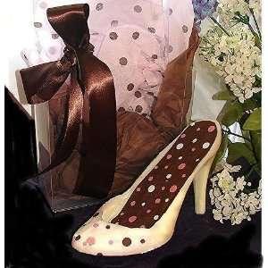 Gourmet Pink & Brown Dot Chocolate High Heel in Clear