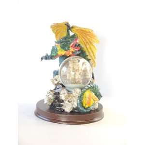 Green Dragon Globe Statue Figurine Home & Kitchen