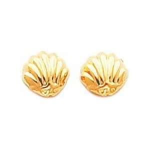 14K Yellow Gold Sea Shell Stud Earrings Jewelry New B