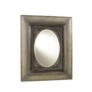 Rectangular Wall Mirror with Oval Mirror and Crackled