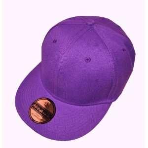 Plain Purple Flat Peak SnapBack Baseball Cap